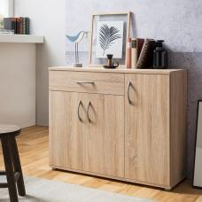 Becky Wooden Sideboard In Sonoma Oak Effect With 3 Doors