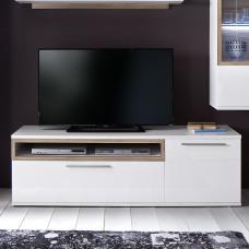 Belina Large TV Stand In White With High Gloss And Oak Inserts