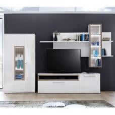 Belina Living Room Set 3 In White With High Gloss And LED