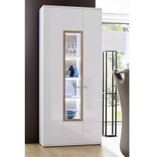 Belina Wide Display Cabinet In White With High Gloss And LED