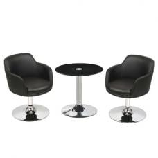 Belize Glass Bistro Table Set In Black With 2 Bucketeer Chairs