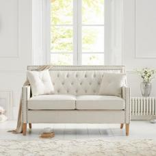 Bellard Fabric 2 Seater Sofa In Ivory White And Natural Ash Legs