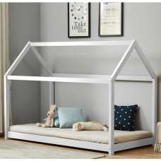 Bellerby Wooden Single House Bed In White