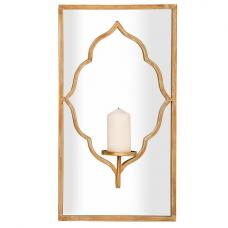 Bellini Rectangular Wall Mirror With Candle Holder In Gold