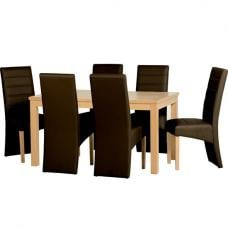 Delmonte Wooden Dining Set with 6 Brown Dining Chairs