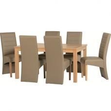 Delmonte Wooden Dining Set with 6 Taupe Dining Chairs