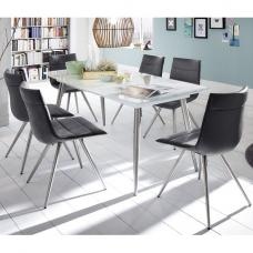 Belton Extendable Glass Dining Table In White With 8 Emily Chair