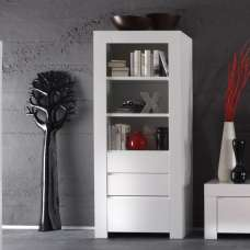 Benetti Display Cabinet In White High Gloss With 2 Drawers