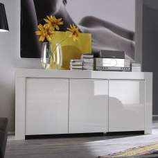 Benetti Sideboard In White High Gloss With 3 Doors