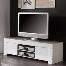 Benetti Modern TV Stand In White High Gloss With 2 Doors