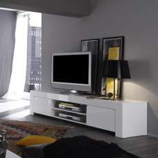 Benetti Modern TV Stand Wide In White High Gloss With 2 Doors