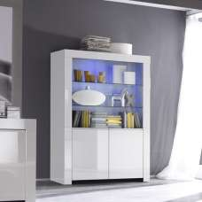 Benetti Display Cabinet Wide In White High Gloss With 4 Doors