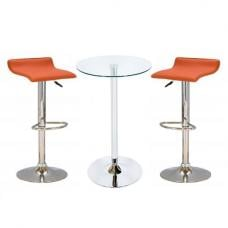 Bente Glass Bar Table With 2 Stratos Orange Bar Stools