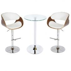 Bente Bar Table In Clear Glass With 2 Corano White Stools