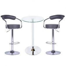 Bente Glass Bar Table In Clear With 2 Zenith Grey Bar Stools