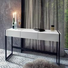 Bento Console Desk With Mirror In White With Black Metal Legs