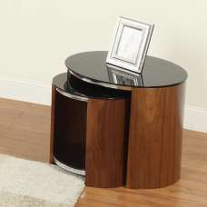 Bentwood Walnut Black Glass Nesting Tables With Chrome Frame