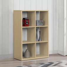 Bergen Shelving Unit In Beech With 6 Open Compartments