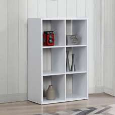 Bergen Shelving Unit In White With 6 Open Compartments