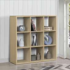 Bergen Shelving Unit Wide In Beech With 9 Open Compartments