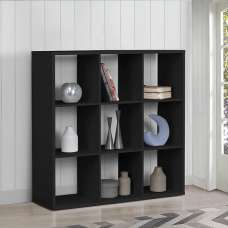 Bergen Shelving Unit Wide In Black With 9 Open Compartments
