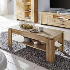 Berger Wooden Coffee Table Rectangular In Rustic Oak