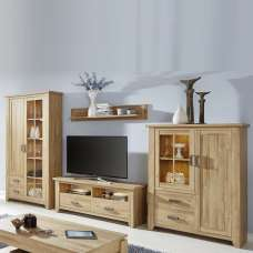 Berger Wooden Living Room Set 1 In Rustic Oak With LED
