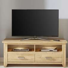 Berger Wooden TV Stand In Rustic Oak And LED Lighting
