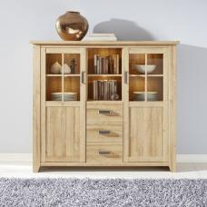 Berger Wooden Highboard In Rustic Oak With 2 Doors And LED