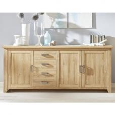 Berger Wooden Sideboard Large In Rustic Oak With 3 Doors