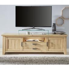 Berger Large TV Stand In Rustic Oak With 2 Doors And LED