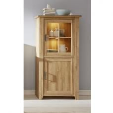 Berger Wooden Display Cabinet In Rustic Oak With 2 Doors And LED