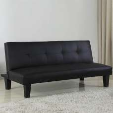 Bern Traditional Sofa Bed In Black Faux Leather