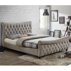 Berthold King Size Bed In Warm Stone With Dark Wood Feet
