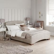 Berthold Contemporary Fabric Bed In Mink With Wooden Legs