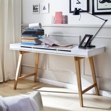 Bethan Laptop Desk In Matt White With Wooden Legs