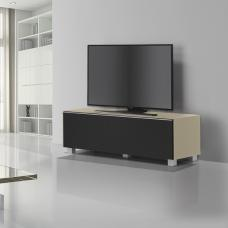 Beton TV Stand In Sand Matt Glass And Acoustic Black Fabric