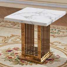 Bettie Marble Effect Lamp Table In White And Rosegold Finish