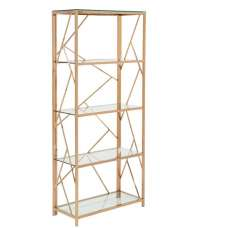 Betty Modern Bookcase In Clear Glass With Rose Gold Frame