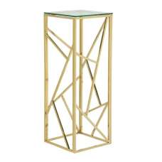 Betty Modern Pedestal In Clear Glass With Gold Frame