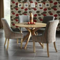 Rebecca Dining Table In Oak And 4 Hannah Chair In Orange Steel