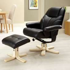 Biarritz Recliner Chair In Black PU With Wooden Base