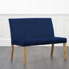 Birlea Dining Bench Small In Blue Plush Velvet With Back Rest