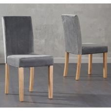 Birlea Dining Chairs In Grey Plush Velvet And Oak Legs In A Pair