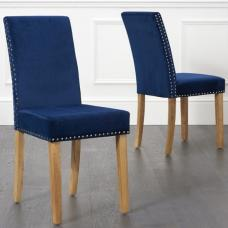 Birlea Studded Dining Chairs In Blue Plush Velvet In A Pair