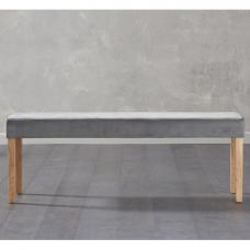 Birlea Dining Bench Large In Grey Plush Velvet And Oak Legs
