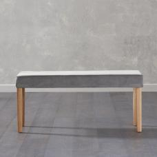 Birlea Dining Bench Small In Grey Plush Velvet And Oak Legs