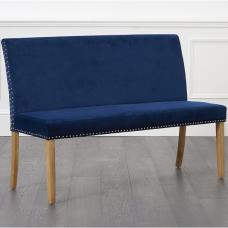 Birlea Studded Dining Bench Large In Blue Plush With Back Rest