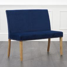 Birlea Studded Dining Bench Small In Blue Plush With Back Rest