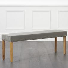 Birlea Studded Dining Bench Large In Grey Plush And Oak Legs